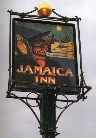 The inn sign of the Jamaica Inn in Cornwall.