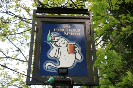The Friendly Spirit Inn haunted pub sign.