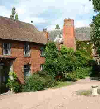 A view of Hellens Manor House haunted by the ghost of  Hetty Walwyn.