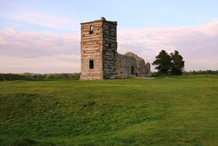 A view of Knowlton Church on its earthworks.