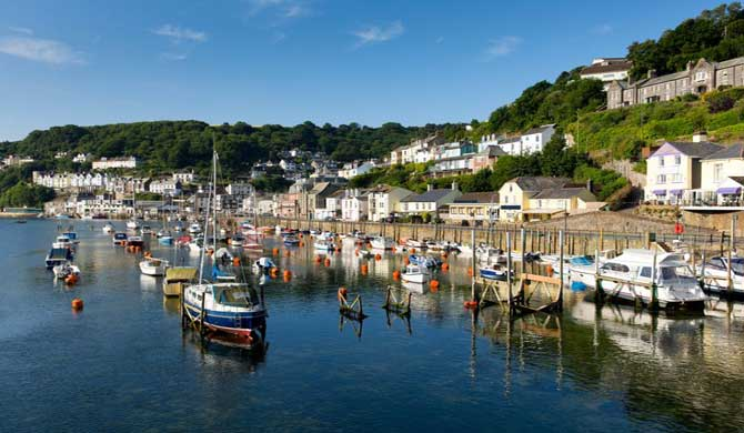 Boats on the river at Looe in Cornwall.