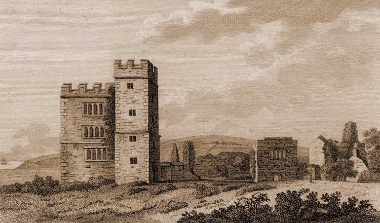 An old woodcut illustration of Pengersick Castle.