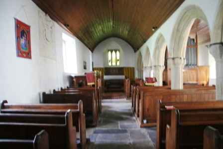 Interior of St Bartholomew Church Warleggan.
