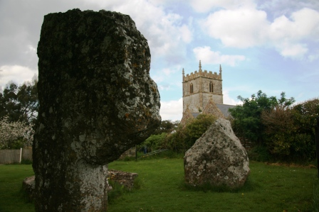 Stanton Drew Stone Circle with church in the background.