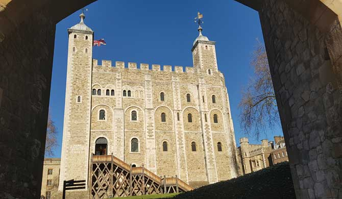 The White Tower at the Tower of London.